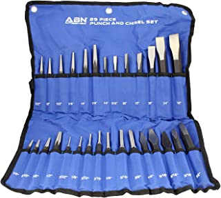 ABN Cold Chisel Set Automotive Punch Tool Kit – 29-Piece Punch Chisel Set – Pin Punch Set, Center Punch Set, More