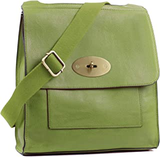 Aossta Women's Cross-Body Bags Leather Large/Medium Twist Lock Cross Body Messenger Bag Turnlock Shoulder Bag