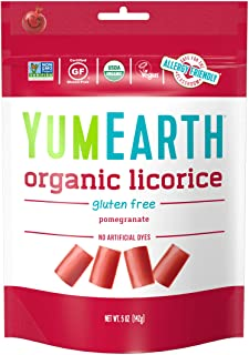 YumEarth Organic Gluten Free Pomegranate Licorice, 5 Ounce , 12 pack- Allergy Friendly, Non GMO, Vegan (Packaging May Vary)