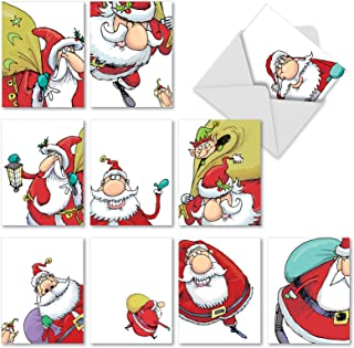 10 Assorted 'Santastic' Season's Greetings Cards with Envelopes 4 x 5.12 inch, Boxed Holiday Stationery with Fun Cartoon Santa Claus, Note Cards for Christmas, Parties and New Year M2325