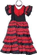 La Senorita Spanish Flamenco Dress Fancy Dress Costume - Girls/Kids - Black/Red