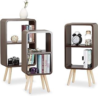 Relaxdays Étagère 2 compartiments bibliothèque bois MDF 4 pieds commode tablette table chevet lot de 3, brun