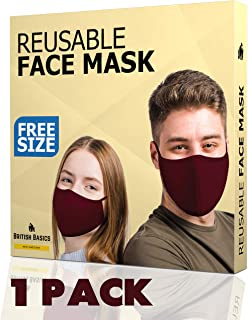BRITISH BASICS Branded Reusable Cotton Cloth Face Mask. Unisex Washable mouth cover for Men & Woman. Anti Dust Mask for Cycling, Walking, Travel - Free Size - Maroon - 1 Pack
