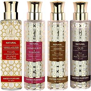 Hamidi Non Alcoholic Natural Water Perfumes for Unisex 100ML - Perfumes Gold Set - PACK OF 4 - Vanilla Elixir - Jasmine Bu...