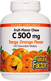 Natural Factors, Vitamin C 500 mg, Kids Chewable, Tangy Orange, Vegan, Non-GMO, 180 wafers (180 servings)