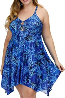 Hanna Nikole Women Front Tie Swim Top Cross Back Tankini Top Flowy Swimdress Tummy Control 24W Blue