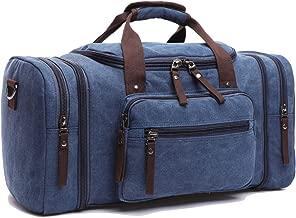 Leaper Vintage Canvas Travel Tote Duffel Gym Bag Weekender Shoulder Handbag (Dark Blue)