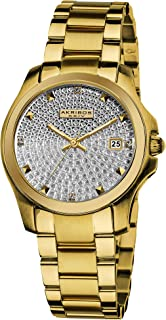 Akribos XXIV Women's AK579YG Impeccable Crystal Pave Stainless Steel Bracelet Watch