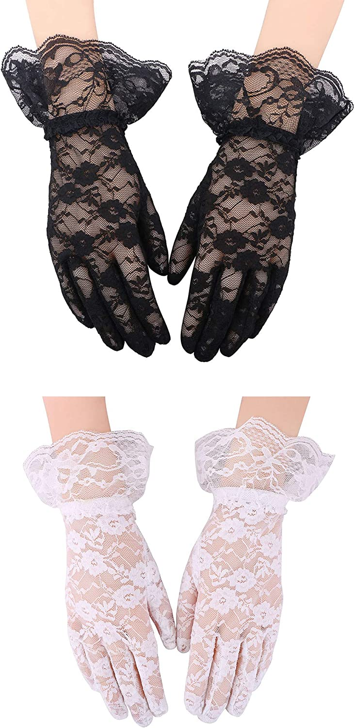 Simplicity Bridal Gloves Lace Wrist Length Special Occasion Wear, 2 Pack_Black and White with Lace Wrist: Clothing