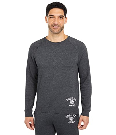 Polo Ralph Lauren Brushed Fleece Long Sleeve Raglan Crew (Windsor Heather/Medium Flannel Heather Rib/Nevis Logo) Men