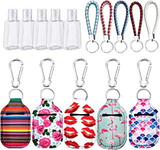5PCS Hand Sanitizer Holder Keychain, Travel Size Bottle Holder Refillable Containers for Soap, Lotion, and Liquids with 5 ...