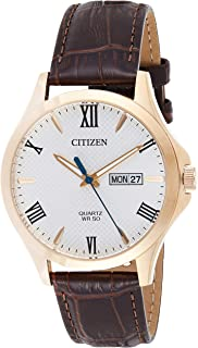 CITIZEN Mens Quartz Watch, Analog Display and Leather Strap - BF2023-01A
