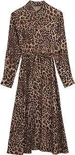 Marks & Spencer Women's Animal Print Midi Shirt Dress, BROWN MIX