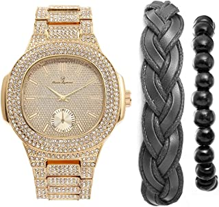 Iced Out Oblong Most Popular Mens Gold Watch, Accessorized with Fashionable Versatile Bracelets Fabric Braided Bracelet and Wooden Beaded Bracelet - Perfect Touch for the Best Dressed Man -8475BBGldBk