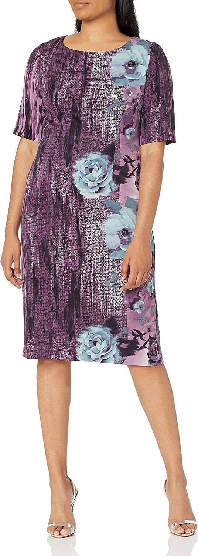 Maya Brooke Women's Side Border Three Quarter Sleeve Dress