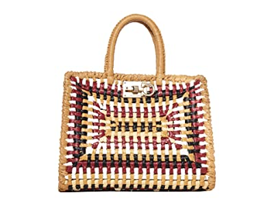 Salvatore Ferragamo The Studio Raffia Top-Handle (Almond Multi) Handbags