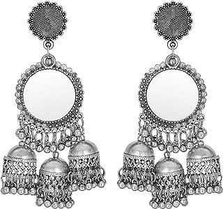 mirror work jhumka earrings