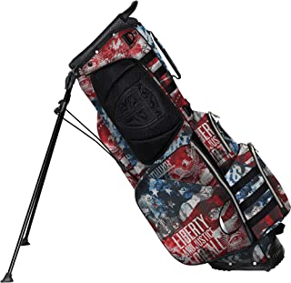 Subtle Patriot Covert 15 Club Golf Stand Bag 5 Way Top, Fully Lined Dividers, Snap-On Rain Cover & UV Protected, 9 Pockets