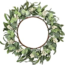 Greentime Artificial Eucalyptus Wreath 17 inch Green Leaf Wreath Spring Summer Wreaths for Front Door Wall Window Home Wed...
