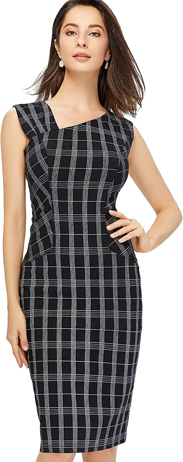 GownTown Women's Retro Sleeveless Slim Business Dress with Pockets