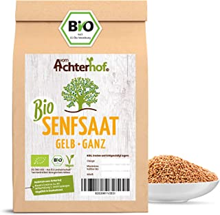 vom Achterhof Bio Senfsamen Senfsaat Senfkörner 250g ganz gelb auch weiß genannt vom-Achterhof ideal zur Senf-Herstellung