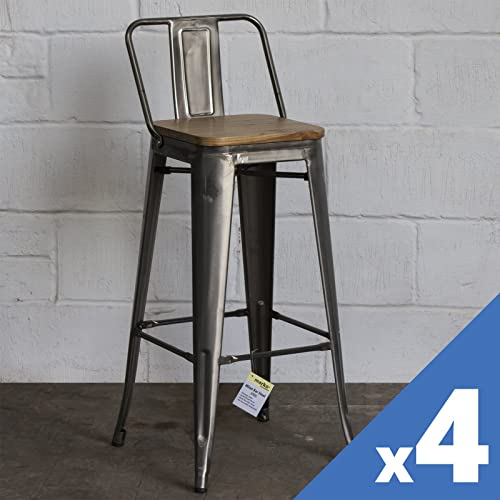 2x Bar Stools Metal Industrial Kitchen Breakfast Chair Bistro Cafe Vintage UK
