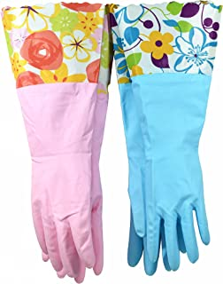Finnhomy 31212 Household Gloves Latex free cleaning Gloves with soft fiber lining extra long cuff 15