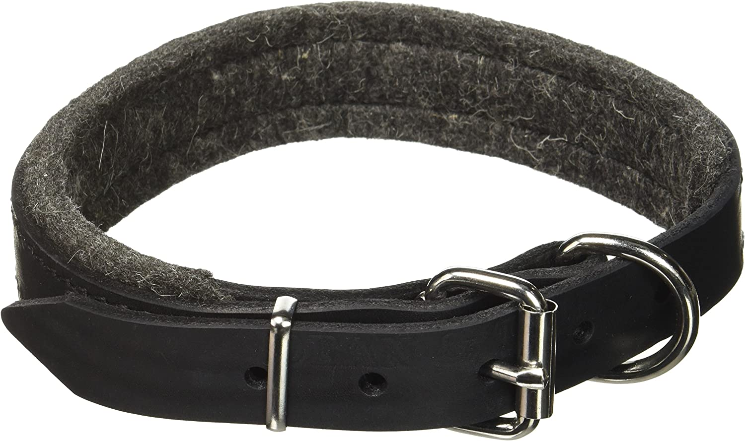 Dean and Tyler DT Delight, Leather Dog Collar with Felt Padding and Strong Hardware  Black  Size 18Inch by 1Inch  Fits Neck 16Inch to 20Inch