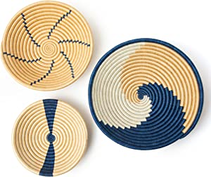 Wall Basket Decor   Boho Baskets Set of 3   Handmade Boho Wall Hanging   Blue African Baskets for Wall   Use for Table or Wall Decorations   Easy to Hang   Great Gift with a Positive Impact