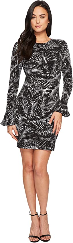MICHAEL Michael Kors Abstract Palm Flounce Dress