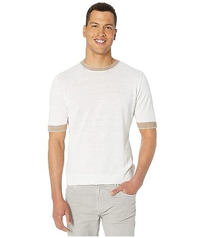 eleventy Short Sleeve Crew Neck Knit T-Shirt w/ Striped Collar/Sleeve (White) Men