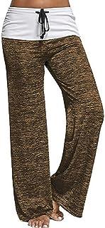 Angashion Women's Wide Leg Pants-High Waisted Drawstring Casual Loose Yoga Lounge Palazzo Pants