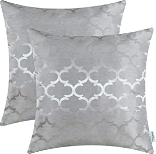 Pack of 2 CaliTime Cushion Covers Throw Pillow Cases Shells for Home Sofa Couch Modern Shining & Dull Contrast Quatrefoil ...