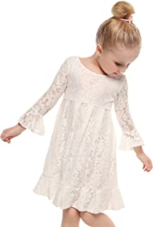 Girl Lace Dress 3/4 Sleeves Wedding Party Dress