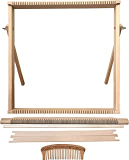 Weaving Loom Kit Large (50 cm x 50 cm) with Stand, Wooden Looming Set, Frame Loom with Heddle Bar   Weaving Loom for Beginners