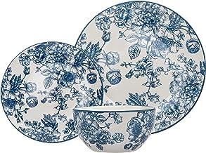 مجموعة أدوات المائدة بانبري بورسلين للعشاء، طبق السلطة، وعاء للشوربة - مجموعة من 12 قطعة