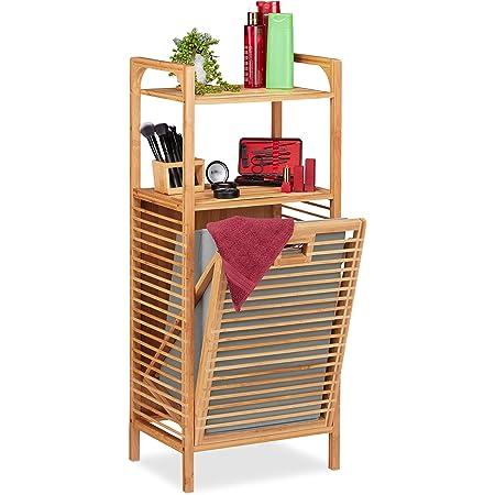 Relaxdays Etagère Bain Corbeille, Bambou, Panier, Sac Linge Sale 95x40x30 cm, Nature Gris, Polyester, MDF, Taille Unique