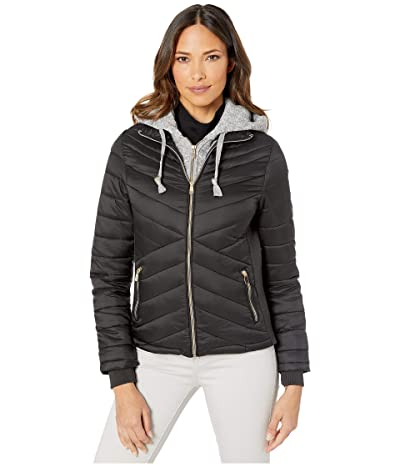 YMI Snobbish Puffer Jacket with Marled Sweatshirt Hood (Black) Women