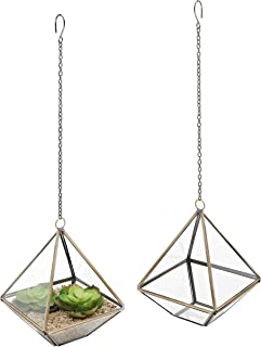 MyGift 5-Inch Hanging Glass & Metal Frame Pyramid Terrarium Planter, Set of 2