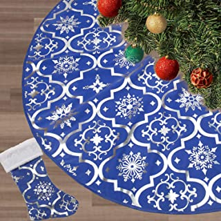 FLASH WORLD Christmas Tree Skirt,48 inches Large Xmas Tree Skirts with Snowy Pattern for Christmas Tree Decorations (Blue)