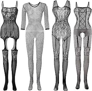 4 Pcs Women Stockings Lingerie Lace Fishnet Bodysuits...