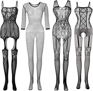 4 Pcs Women Stockings Lingerie Lace Fishnet Bodysuits Sleepwear Nightwear for Lingerie Party Date Wearing, Black