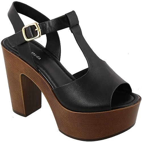 d80d7c24e6ee74 MVE Shoes Women s Ankle Strap Faux Wood Platform Chunky Heel Sandal