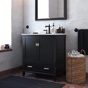 """Dorel Living Otum 30 Inch Sink, Black Wood Bathroom Vanity, 30"""""""