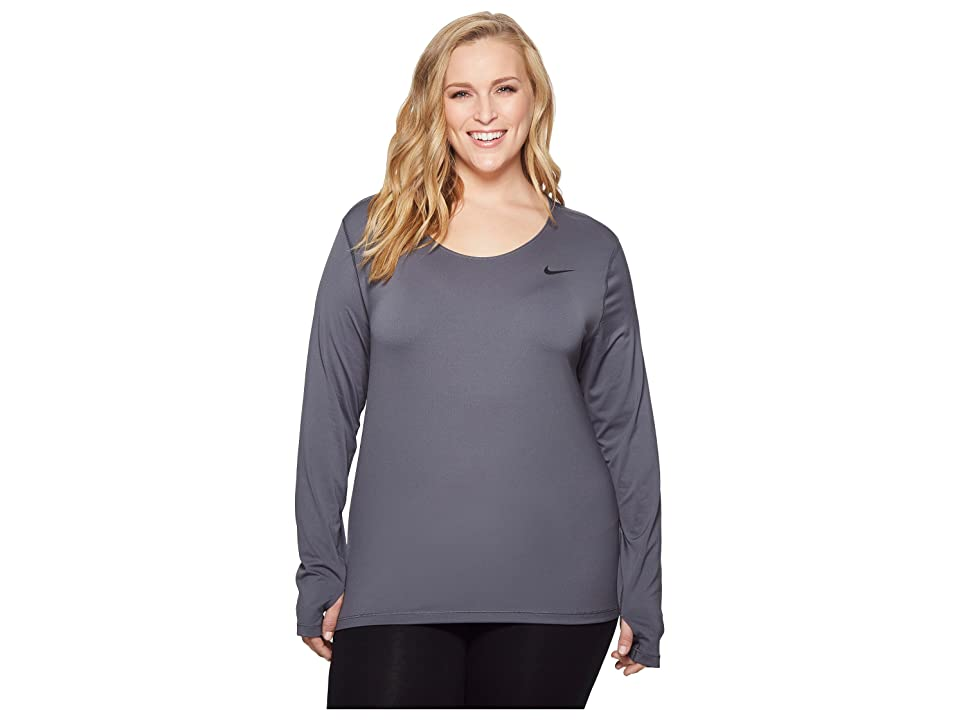 Nike Pro Mesh Long Sleeve Top (Size 1X-3X) (Dark Grey/Black) Women