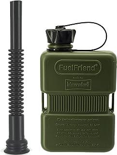 FuelFriend® Plus 1,0 Liter   Sonderserie Oliv   Klein Benzinkanister Mini Reservekanister + Flexibles Auslaufrohr