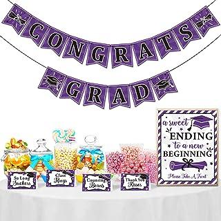Yaaaaasss! Purple Graduation Candy Bar Dessert Buffet Decoration-A Sweet Ending to A New Beginning Sign Purple Congrats Gr...