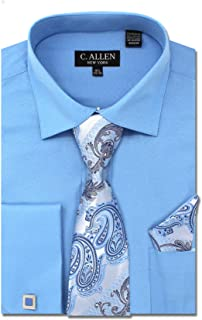 Men's Solid Square Pattern Regular Fit French Cuffs Dress Shirts with Tie Hanky Cufflinks Combo