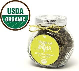 Pride Of India - Organic Tulsi/Holy Basil Tea (Decaf), 0.5oz Gourmet Handmade Jar (Makes 20 Cups)