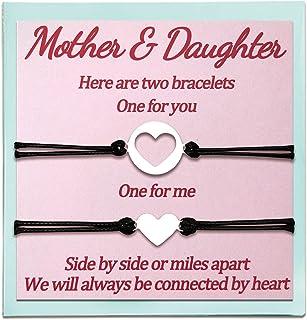 أساور متناسقة 3 بنات هدايا من أمي من ابنة الأم والأم وأم هدايا عيد الأم للنساء المراهقات مجموعة من 2 بنات قلب قابل للتعديل